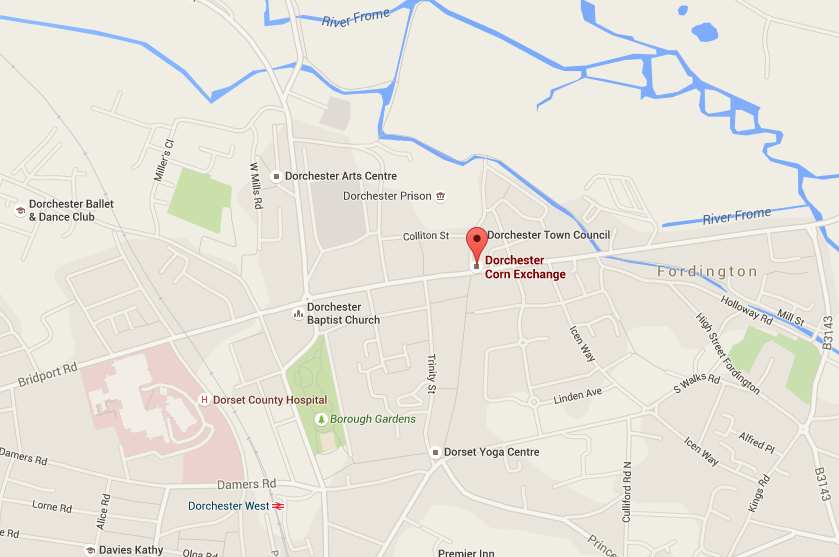 Map of where Dorchester Youth Theatre is